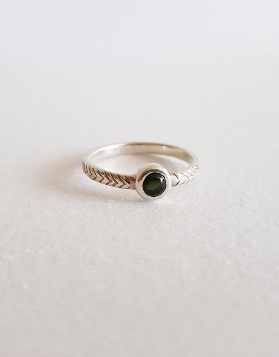 sterling silver ring for woman with tourmaline