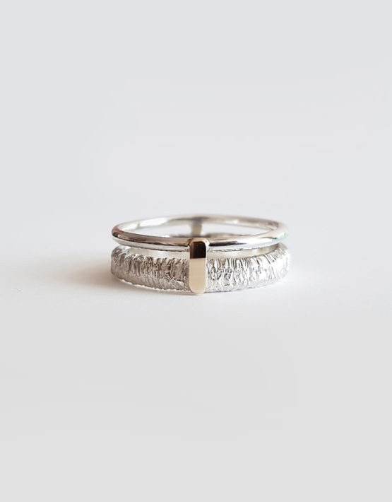 double textured silver ring