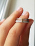sterling silver double ring with gold bar accent