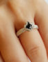 black CZ silver solitaire ring