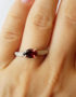 pear garnet silver ring for woman unusual ring