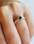unusual unique silver ring with black stone