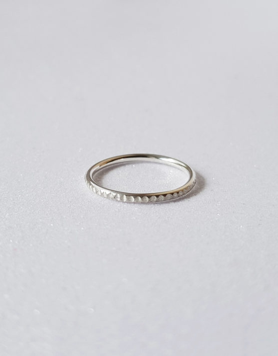 notch texture silver ring