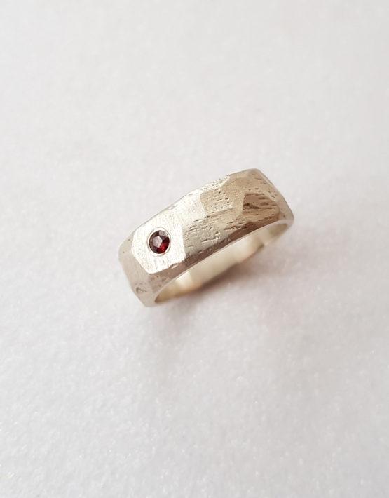 wide garnet ring