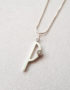 modern P letter pendant with cubic zirconia