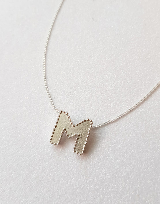silver M letter pendant