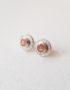 peach moonstone textured stud earrings