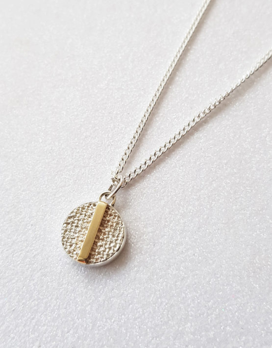 minimalist silver pendant necklace with gold